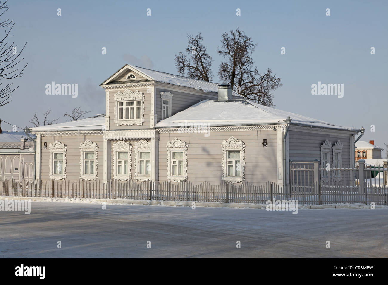 Russia. Kolomna kremlin and historical center.Tpical old russian izba (Log house) - Stock Image