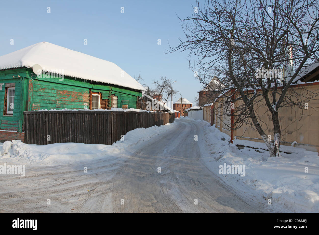 Russia. Kolomna kremlin and historical center. Tipical old russian izba (Log house) - Stock Image
