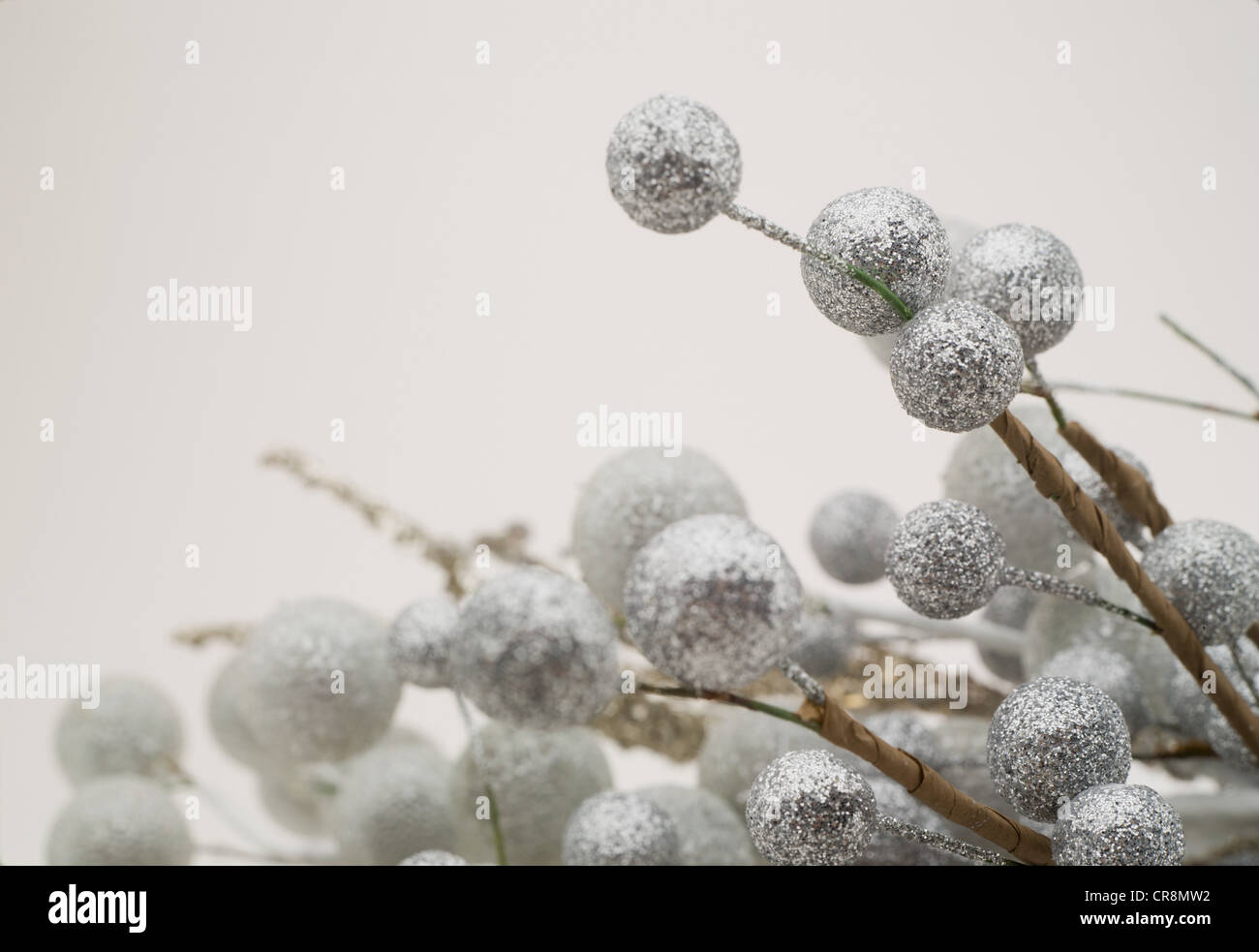 Silver christmas decorations - Stock Image