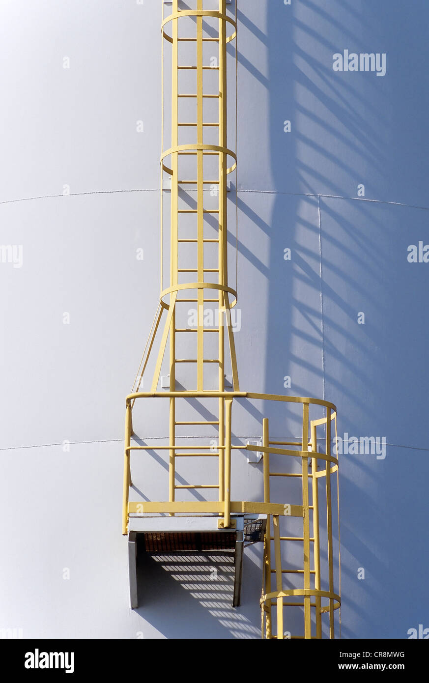 Ladder on a tank containing hydrochloric acid, Chempark Krefeld-Uerdingen industrial park, formerly known as Bayer - Stock Image