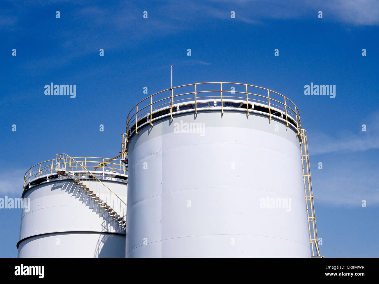 Two tanks containing hydrochloric acid, Chempark Krefeld-Uerdingen industrial park, formerly known as Bayer Industry - Stock Image