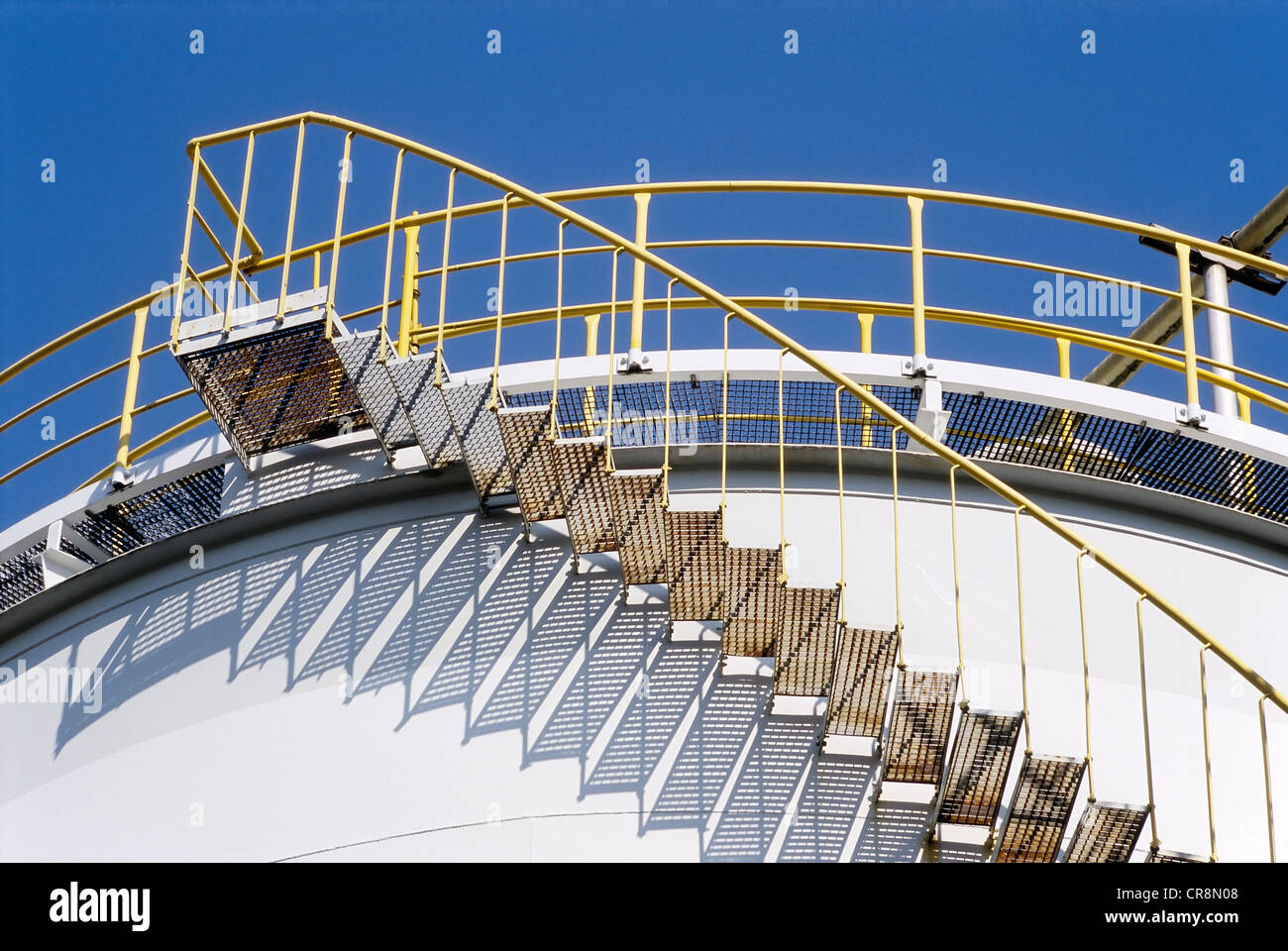 Stairs on a tank containing hydrochloric acid, Chempark Krefeld-Uerdingen industrial park, formerly known as Bayer - Stock Image