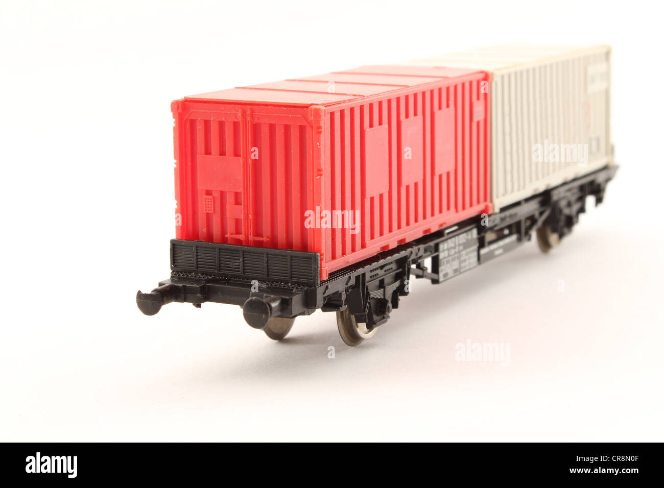 Model train container carrier. Stock Photo