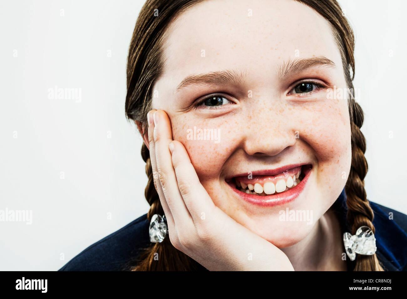 Girl with plaits - Stock Image