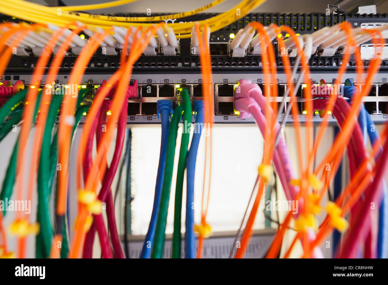 Cables in server room - Stock Image