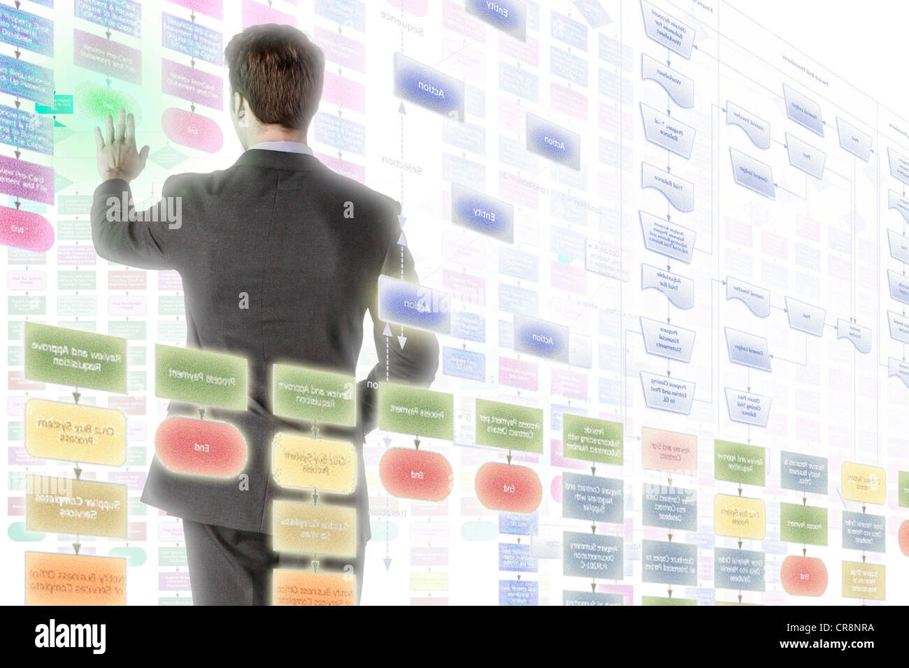 Businessman interacting with holographic screens - Stock Image