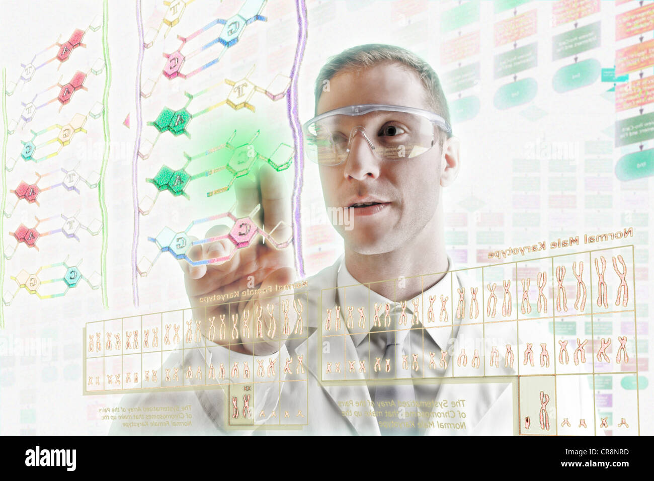 Scientist interacting with holographic screens - Stock Image