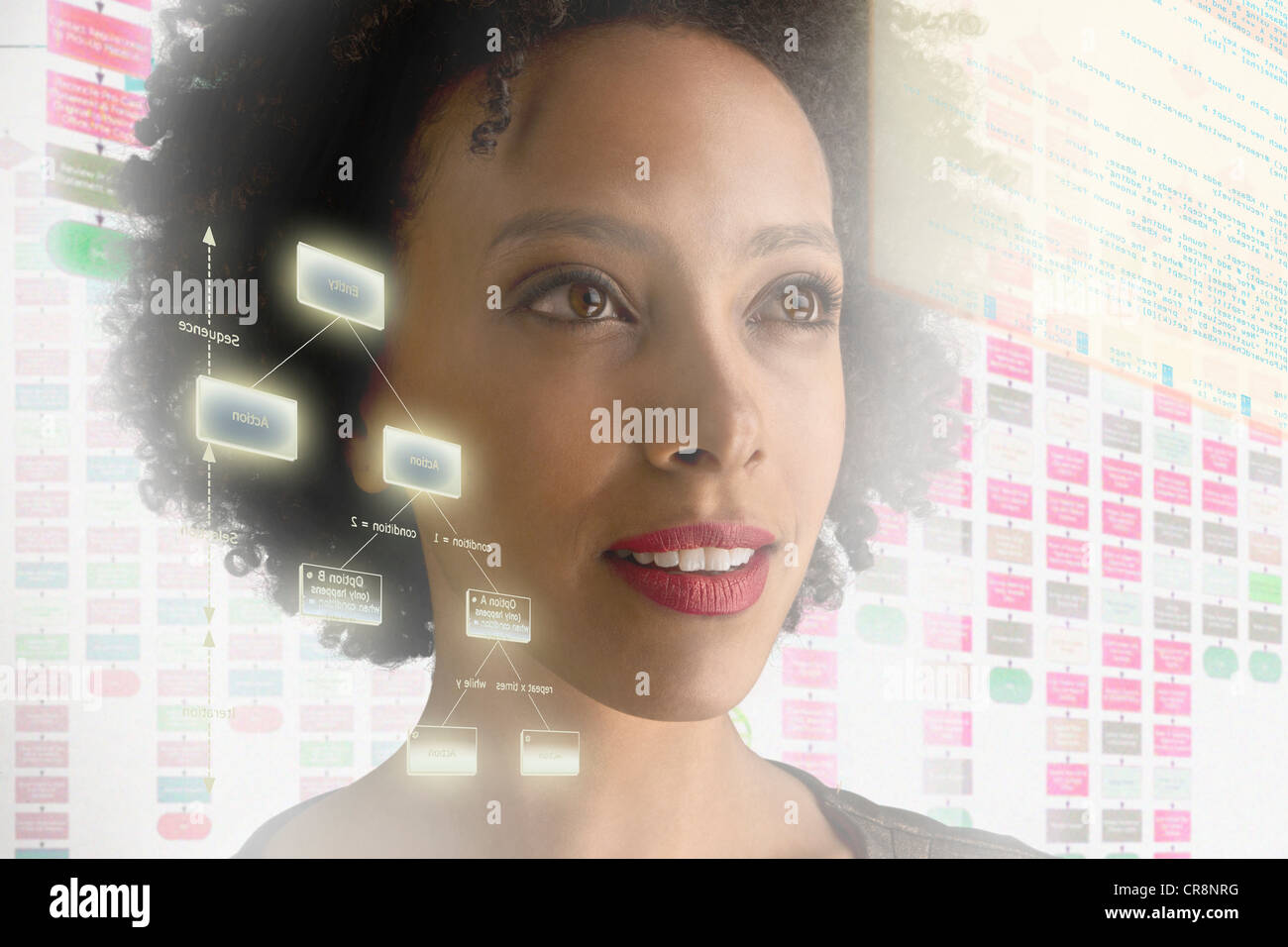 Woman surrounded by with holographic information - Stock Image