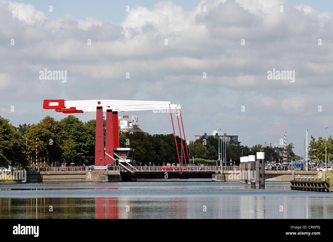 Schroebrug modern bascule bridge over the canal through Walcheren, Middelburg, Zeeland, Netherlands, Europe Stock Photo