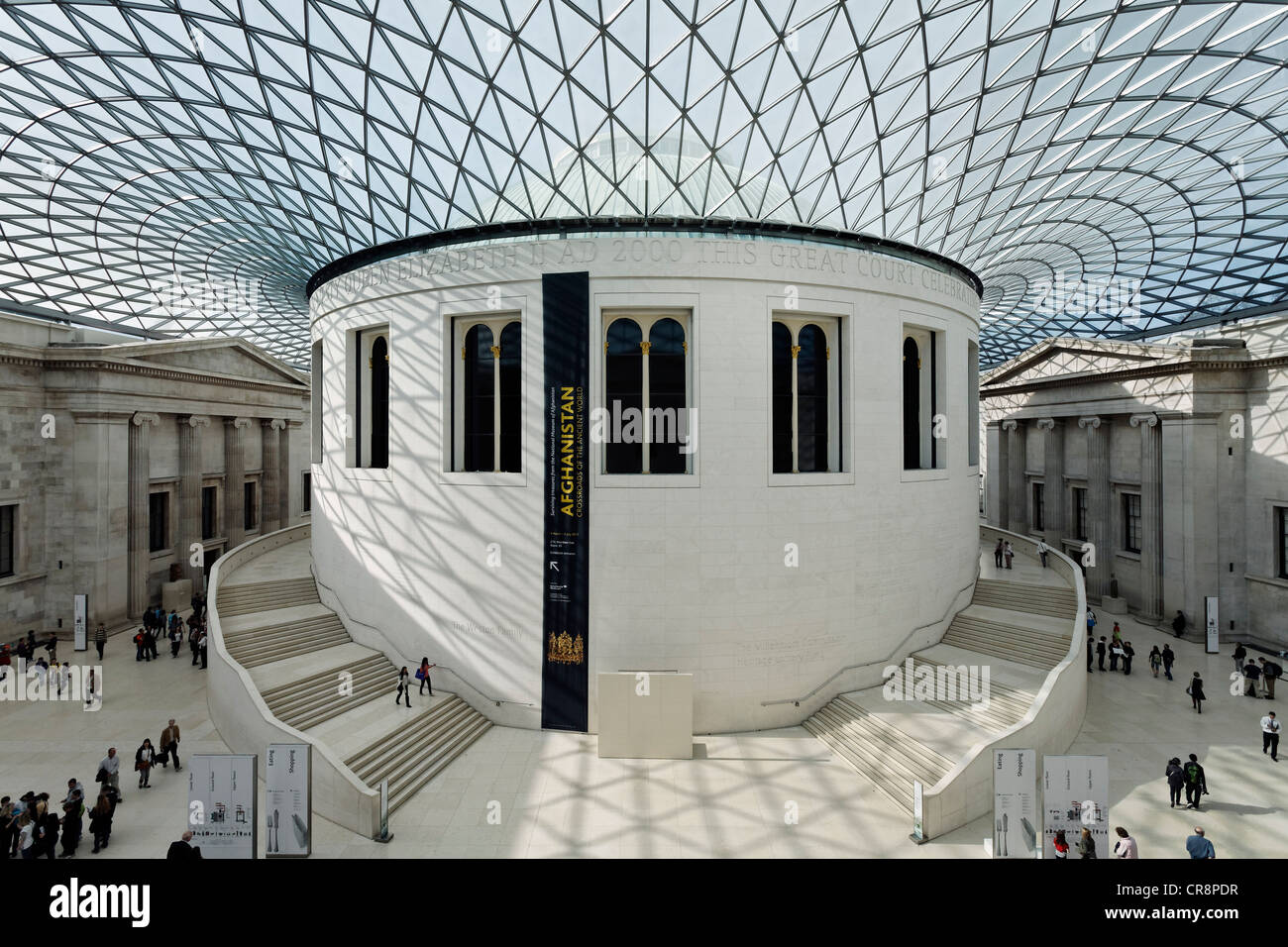 Great Court, inner courtyard with modern domed roof, steel and glass construction, British Museum, London, England Stock Photo