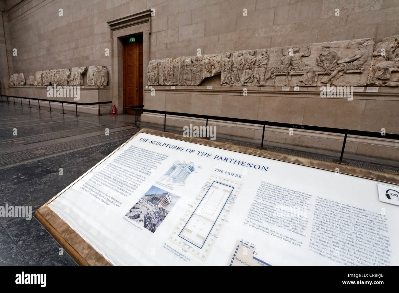 Hall with the Elgin Marbles, marble frieze from the Athens Parthenon, British Museum, London, England, United Kingdom, Stock Photo