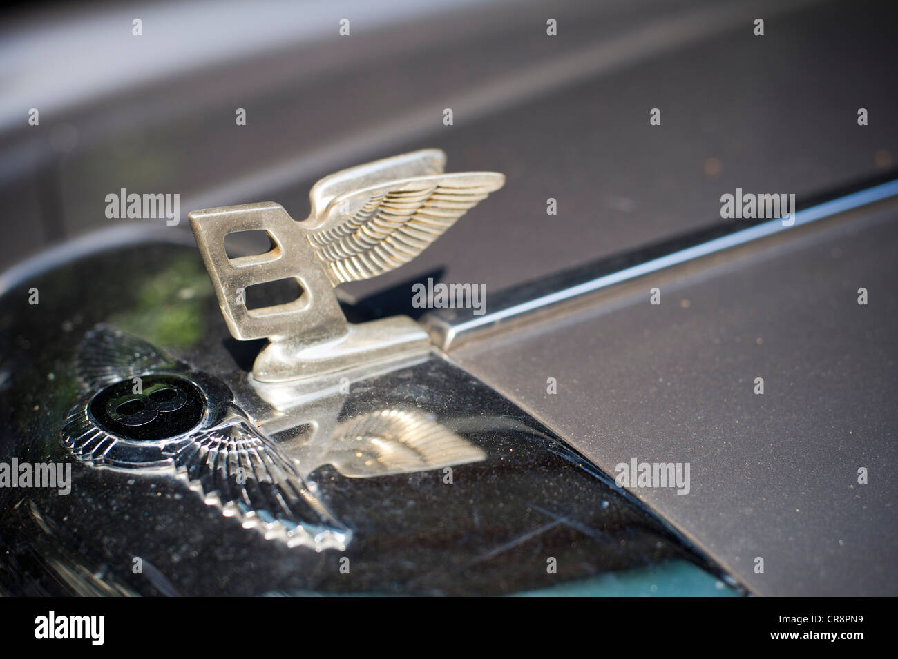A Bentley Luxury Car Hood Ornament Is See On A Bentley Parked On The