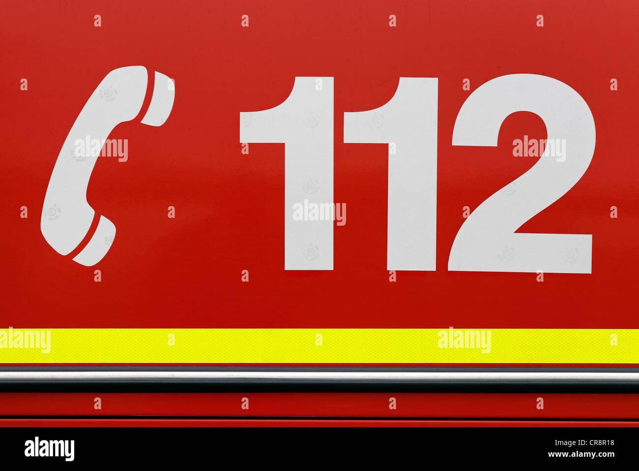 German emergency number 112, adhesive foil - Stock Image