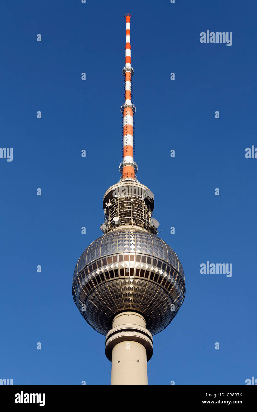 Berlin TV tower, spire and antenna system, Mitte district, Berlin, Germany, Europe - Stock Image