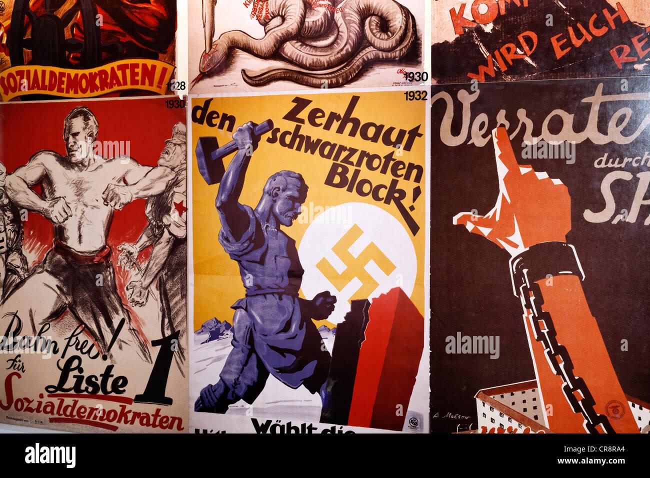 Election posters of political parties from 1938, Social Democrats, German Resistance Memorial, Bendlerblock, Berlin - Stock Image