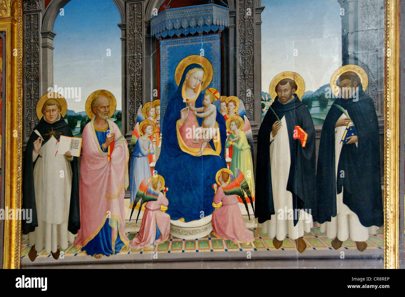 Reworked painting of Fra Angelico Triptych Church of San Domenico Fiesole Tuscany Italy - Stock Image