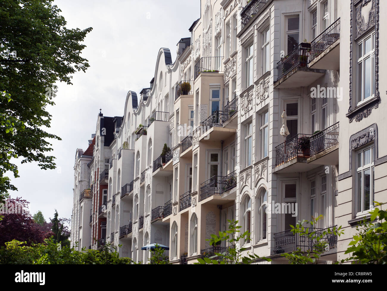 House facades in the posh Eppendorf district, Hamburg, Germany, Europe - Stock Image
