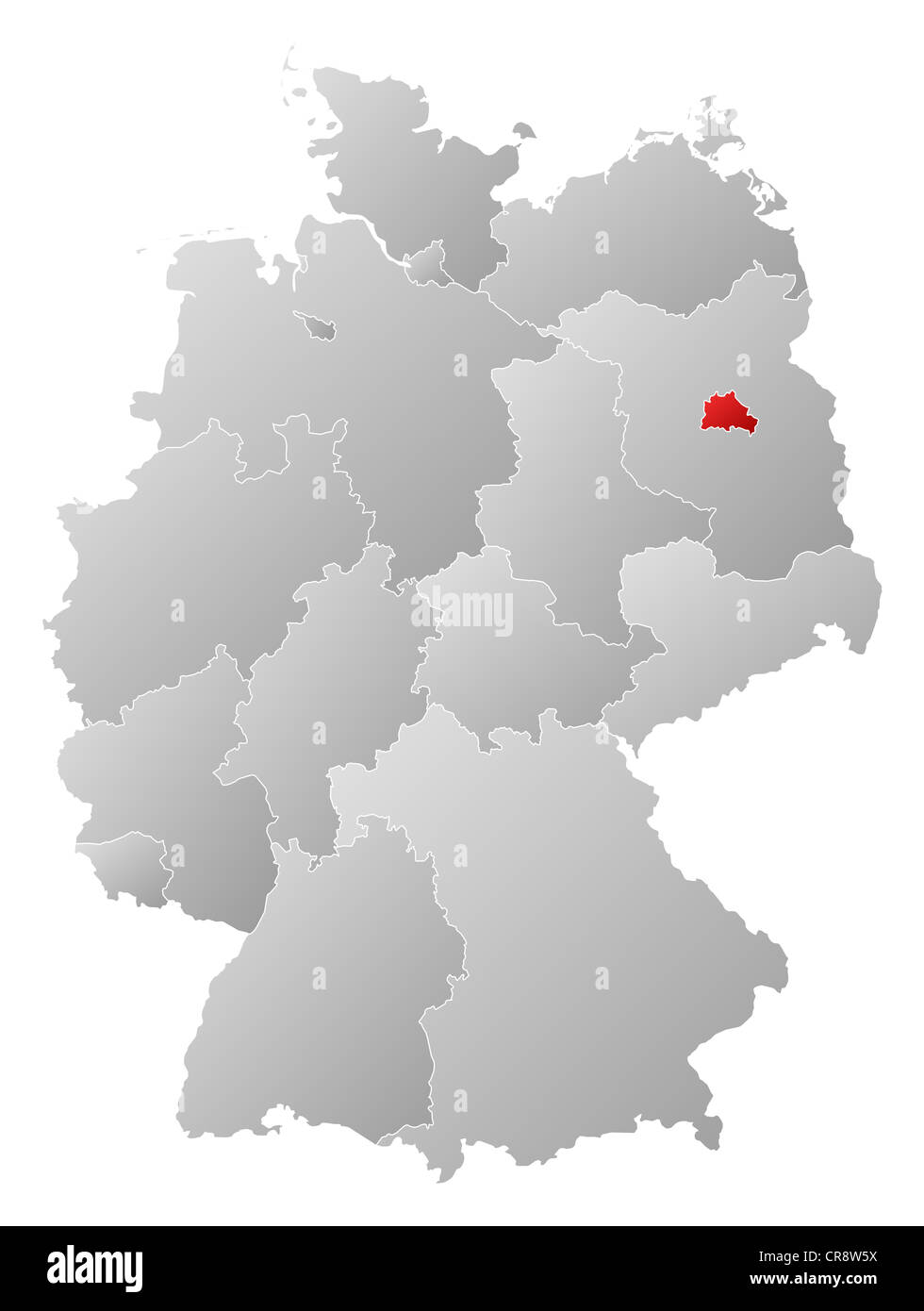 Germany map red outline symbol stock photos germany map red political map of germany with the several states where berlin is highlighted stock image gumiabroncs Choice Image