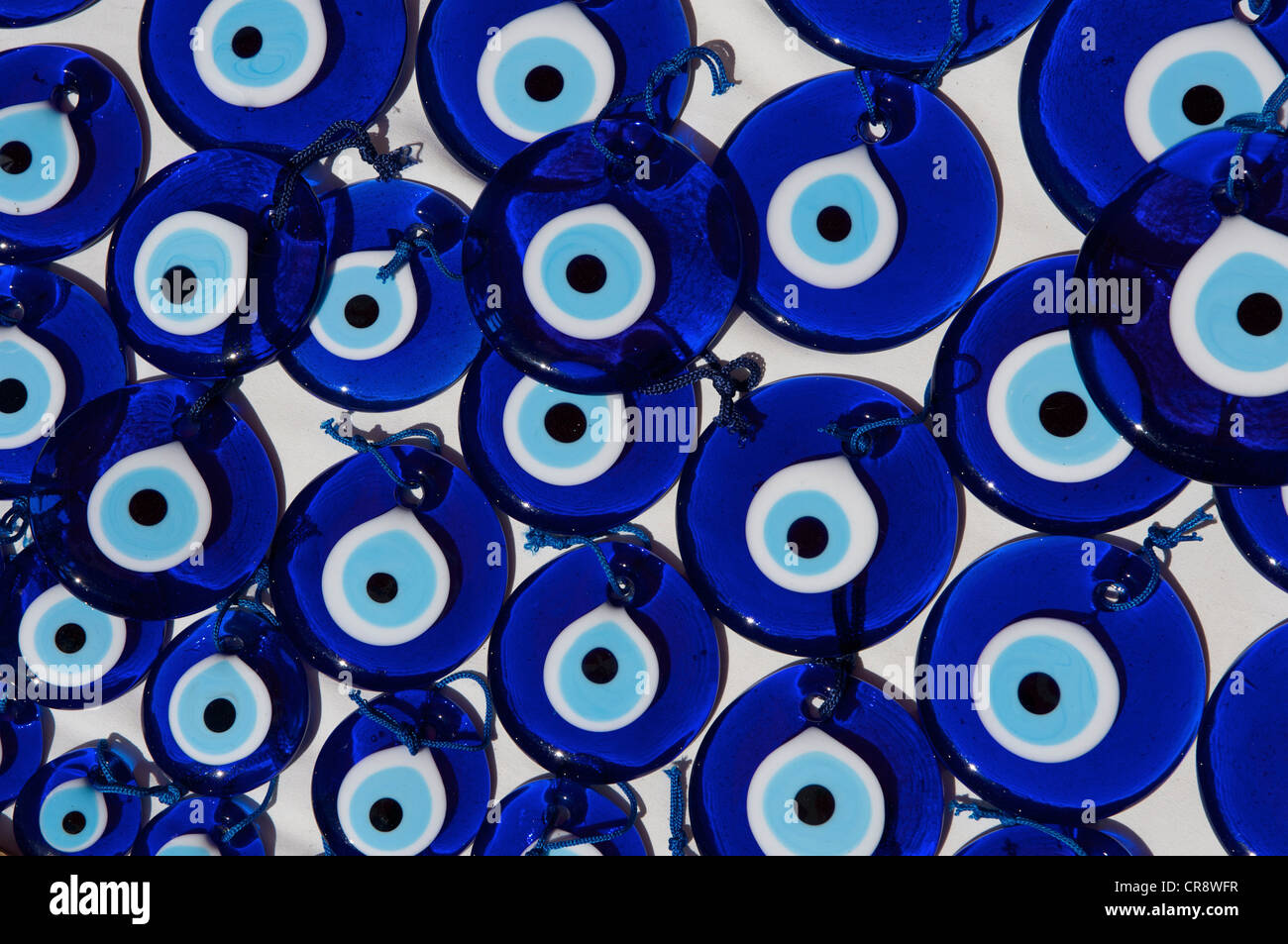 Nazar pendants, souvenirs in Dalyan near Marmaris, Turkish Aegean Coast, Turkey - Stock Image
