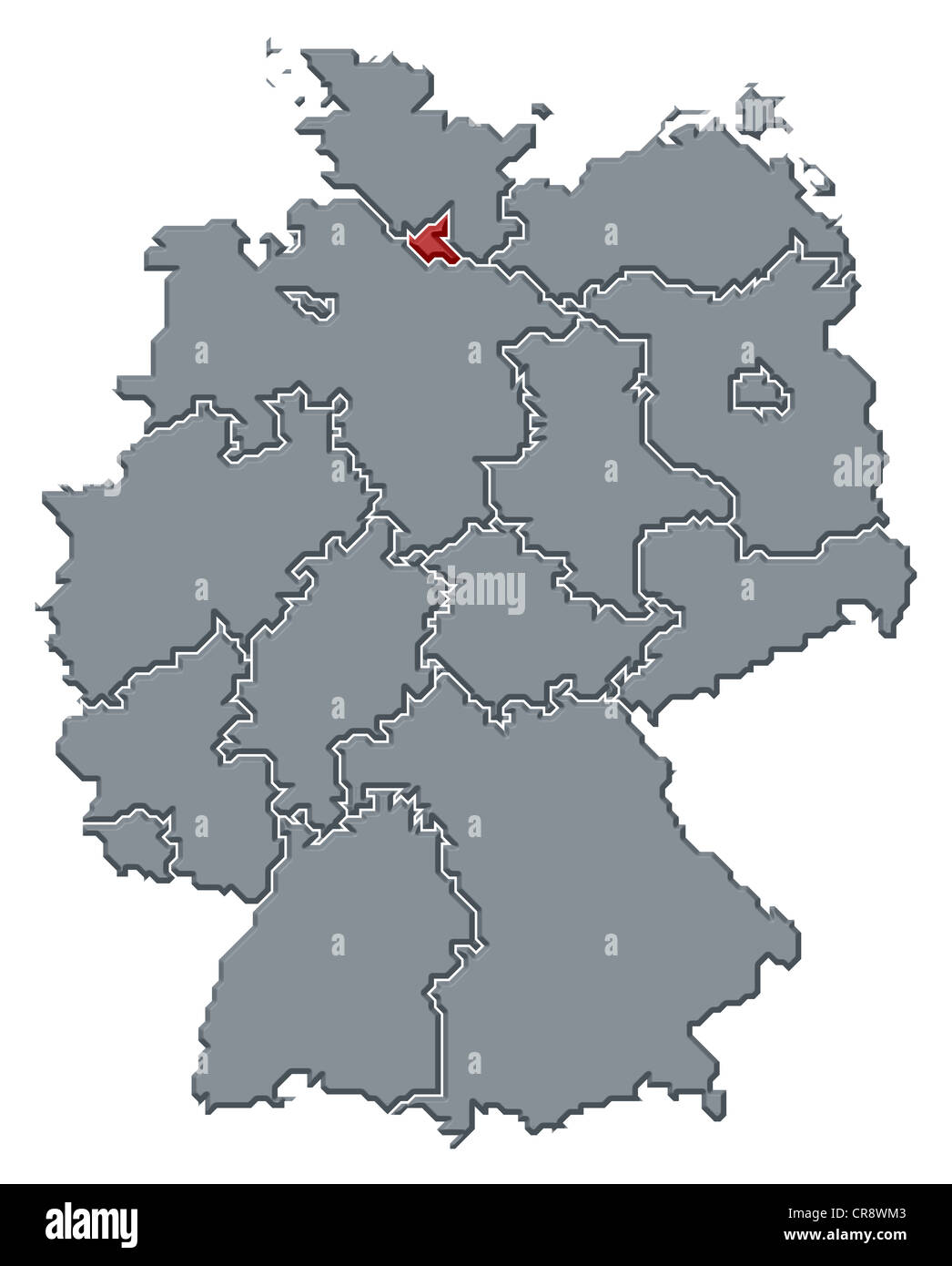 political map of germany with the several states where hamburg is highlighted stock image