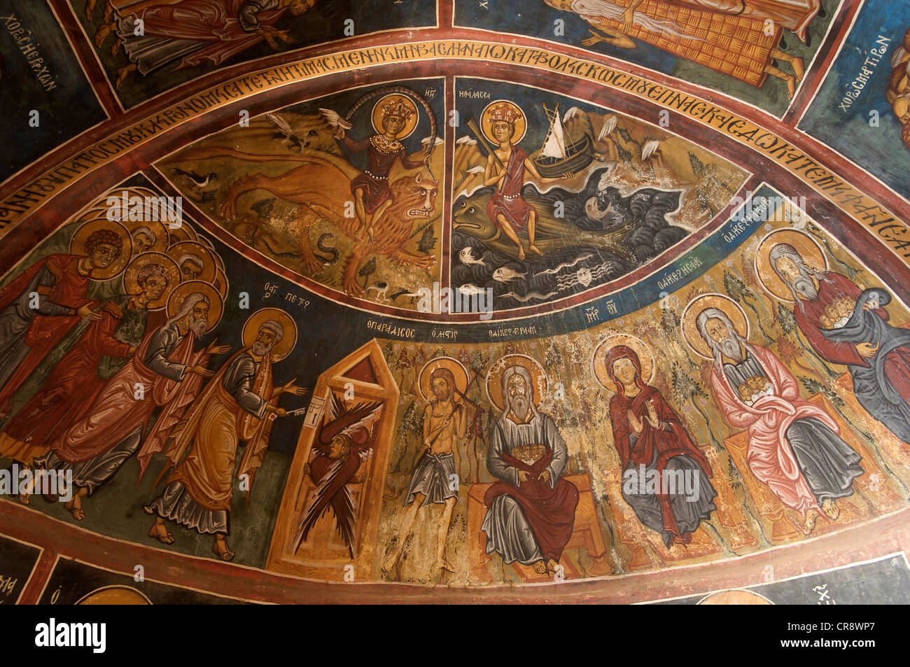 900 year old wall paintings in Panagia Forviotissa, a barn roof church in Asinou, Troodos Mountains, Southern Cyprus, - Stock Image