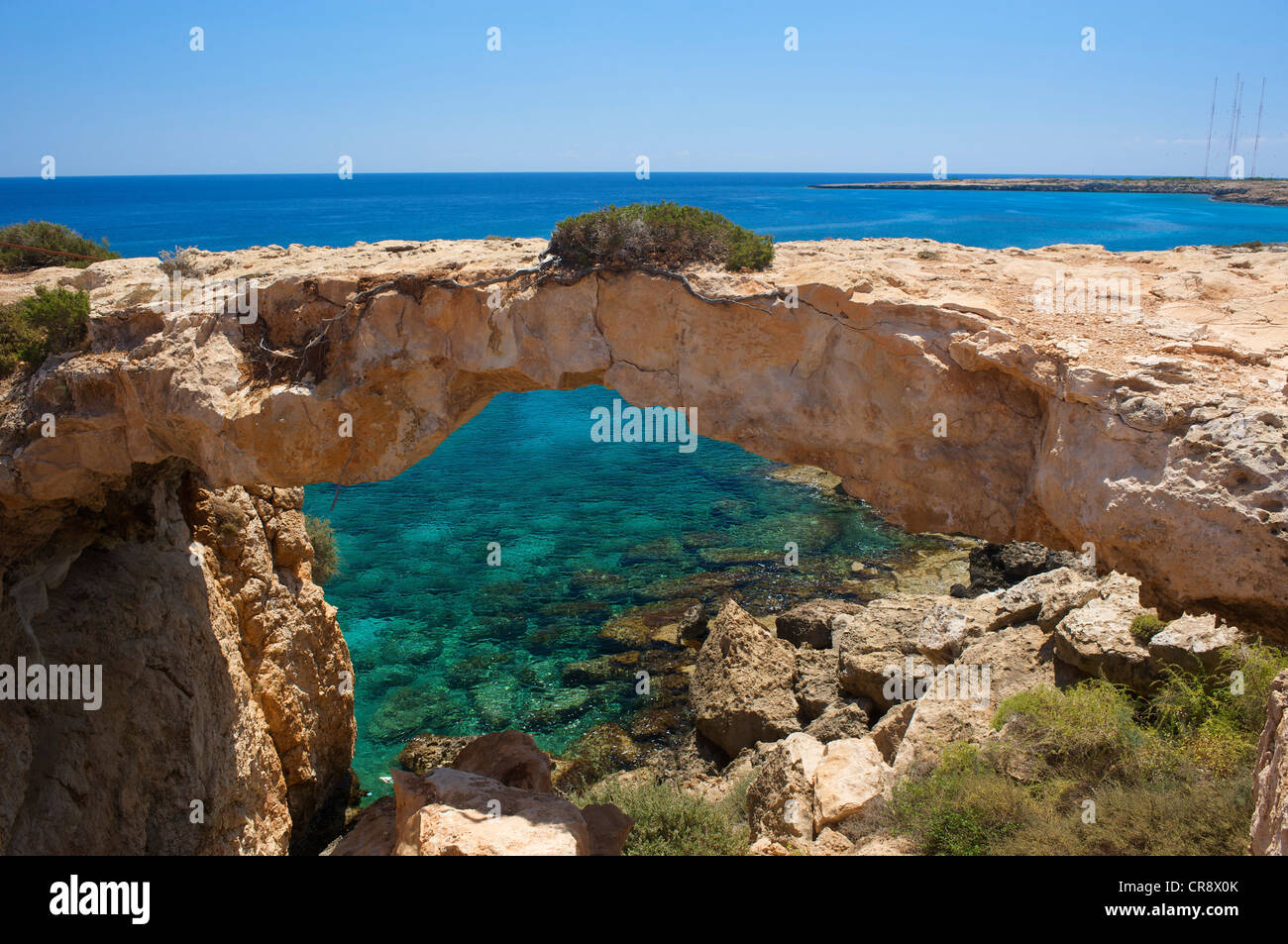 Natural arch at Cape Greco in Ayia Napa, Southern Cyprus, Cyprus - Stock Image