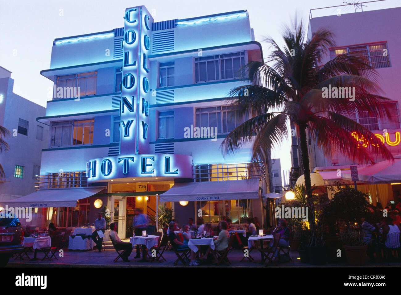 Colony Hotel on Ocean Drive, Miami Beach, Miami, Florida, USA - Stock Image