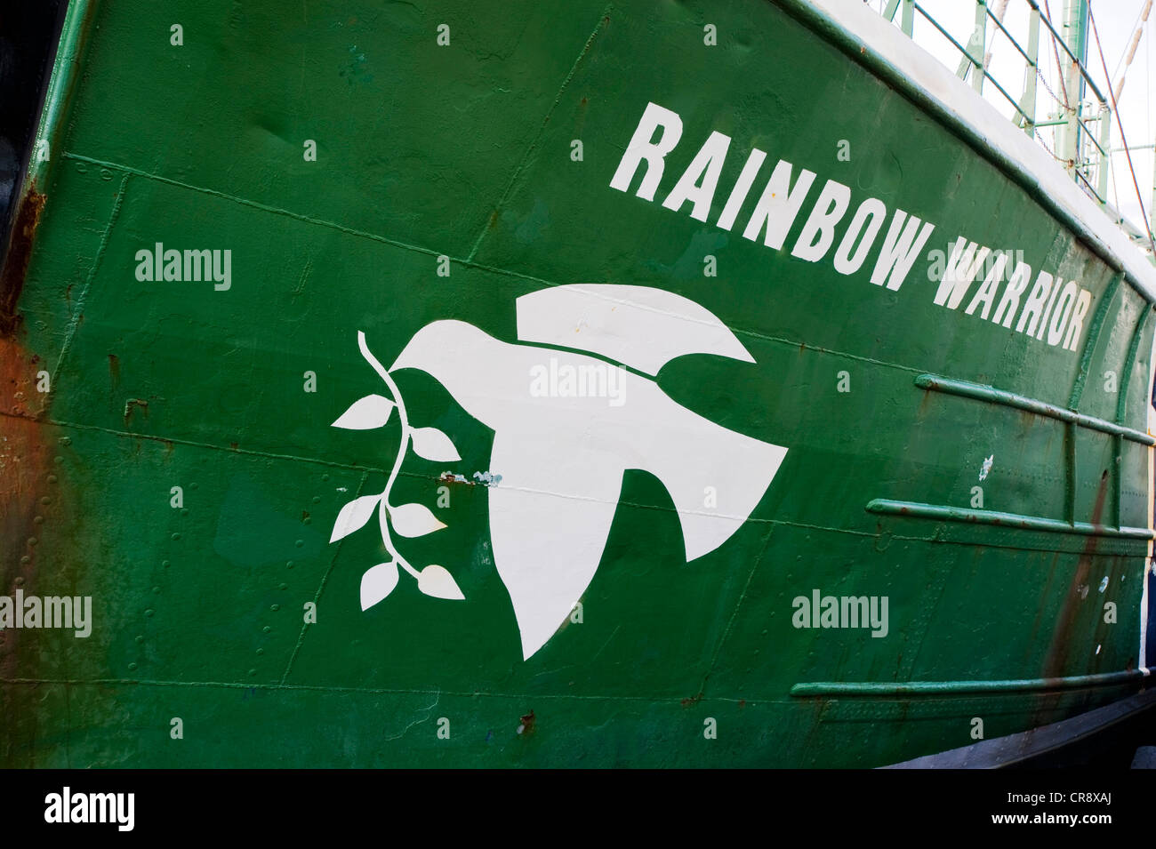 Detail, exterior view of the Greenpeace flagship 'Rainbow Warrior II' - Stock Image