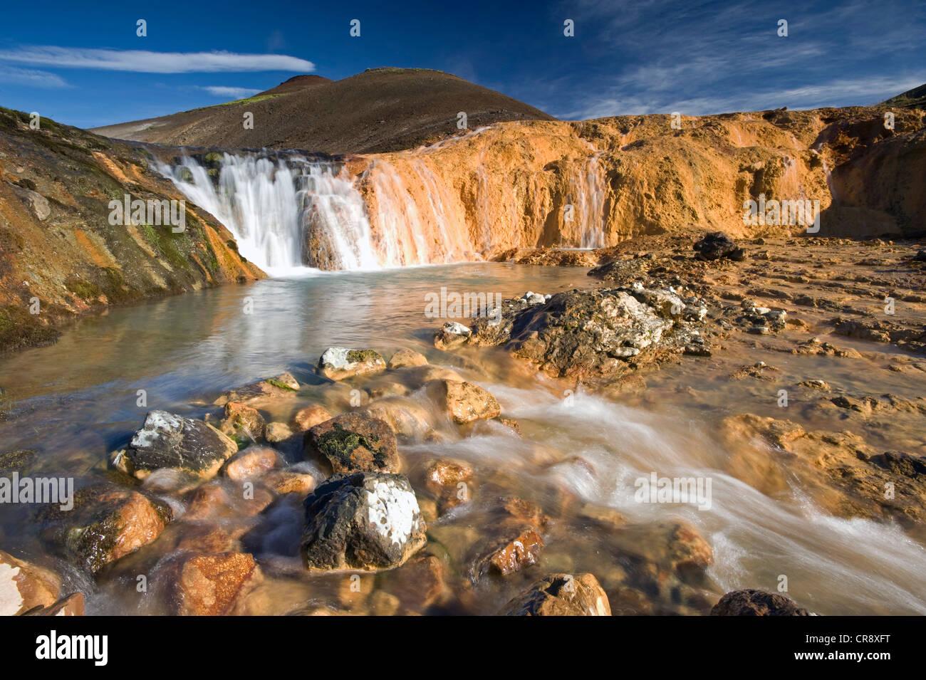 Bicolored waterfall near Hauhverir, Fjallabak Nature Reserve, Highlands of Iceland, Iceland, Europe Stock Photo
