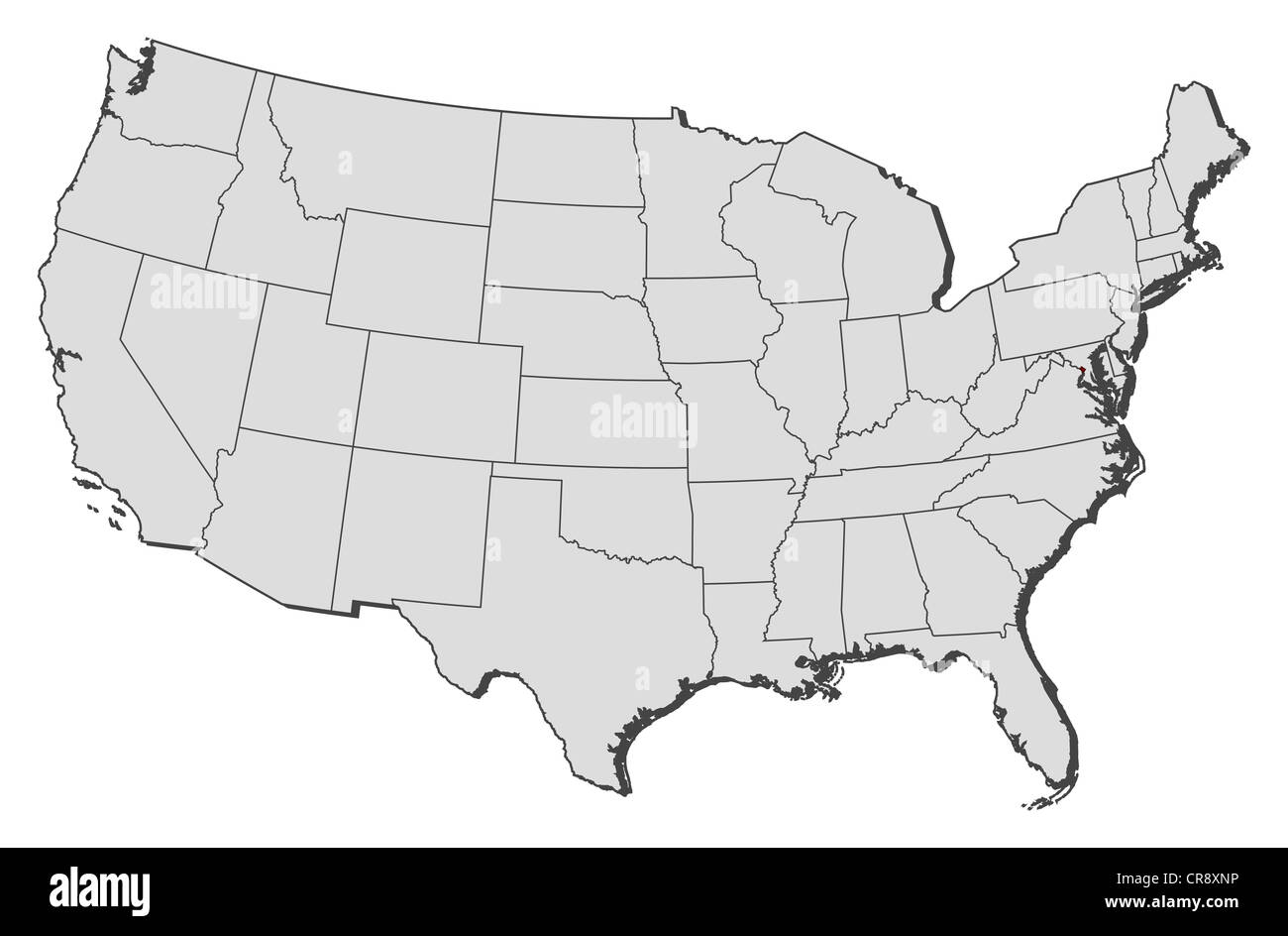 Political Map Of United States With The Several States Where Stock - Washington-dc-on-a-map-of-the-us
