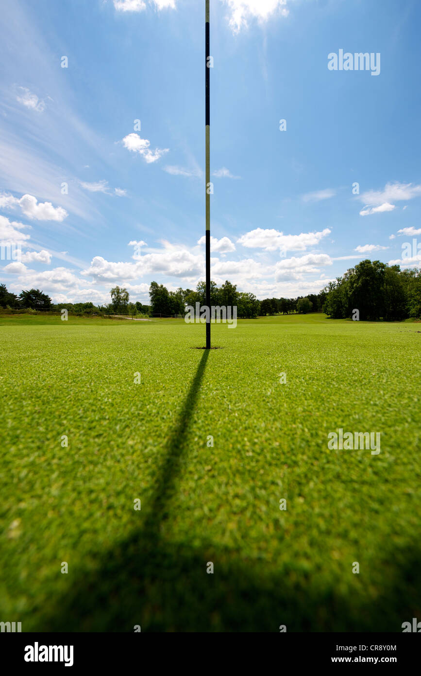 Par for the Course. A yellow flag on a pole on an immaculate golfing green in Surrey set against a blue cumulus - Stock Image