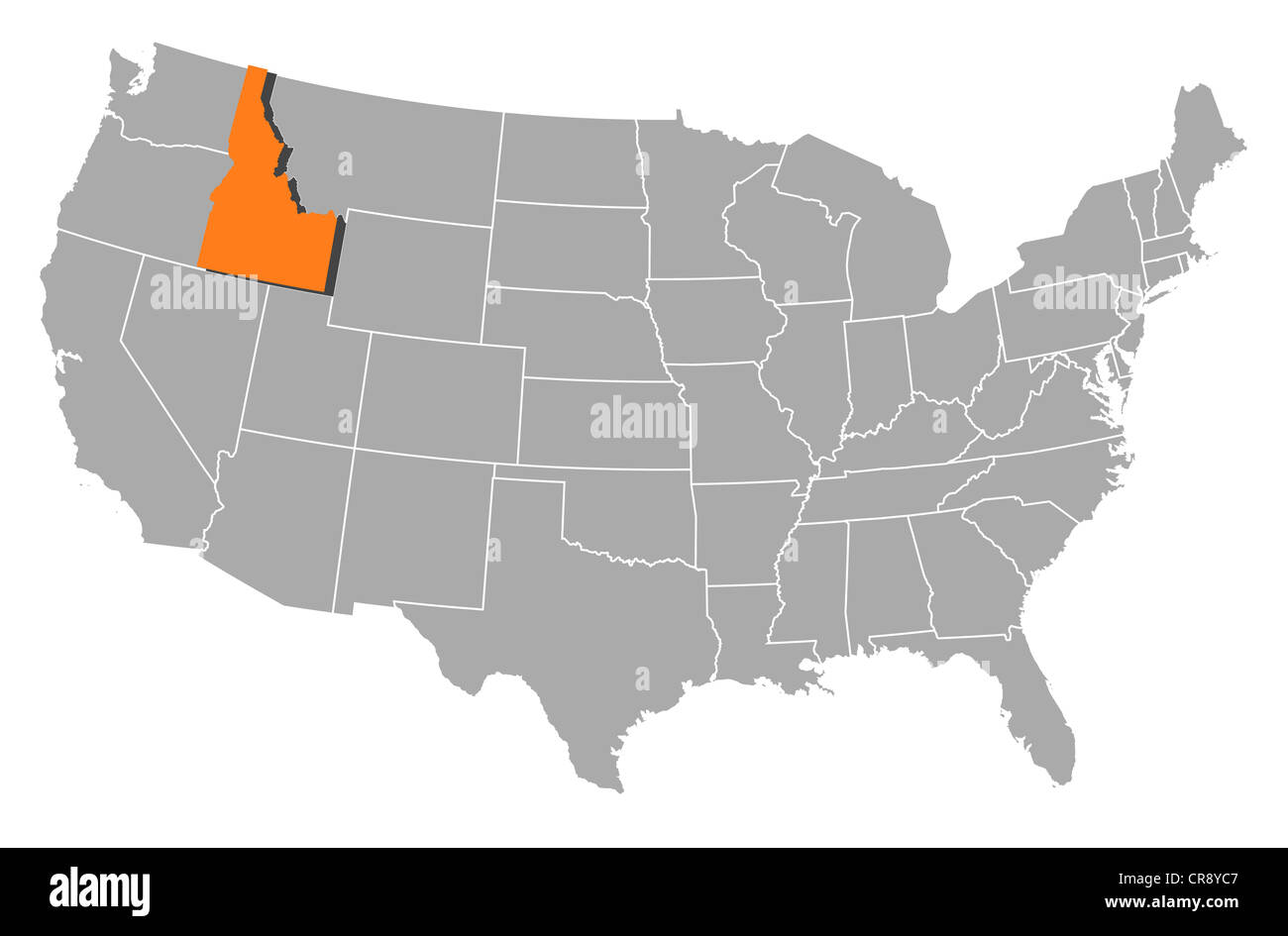 Political Map Of United States With The Several States Where Idaho - Idaho-on-the-us-map