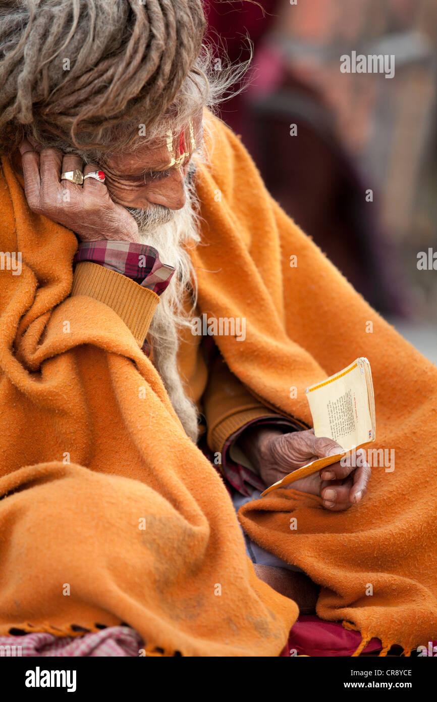 Indian Sadhu(holy man), Mahabodhi Temple, Bodh Gaya, Bihar, India - Stock Image