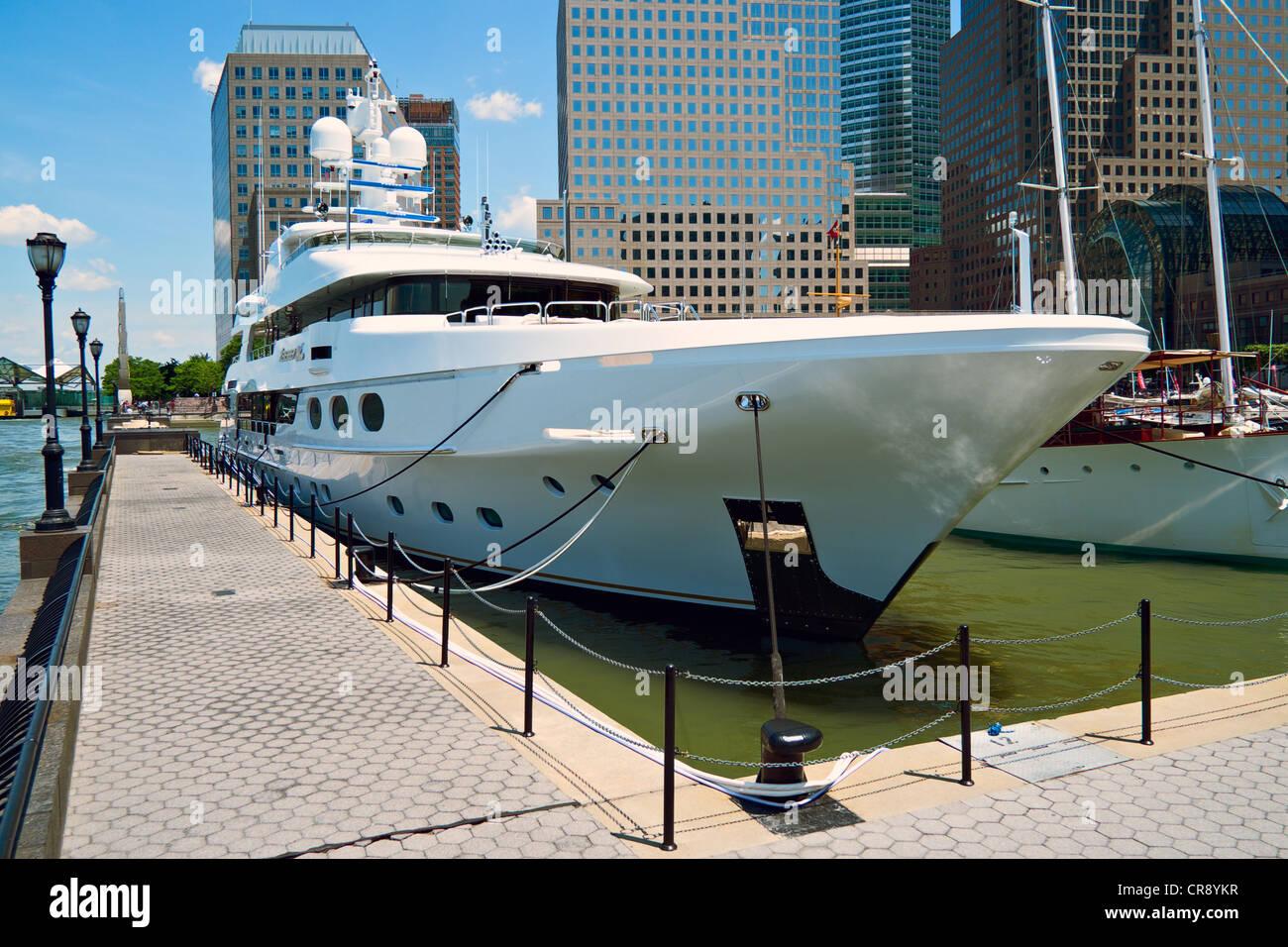 Yacht Remember Me docked in lower Manhattan, New York - Stock Image