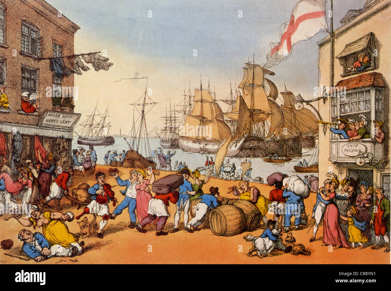 THOMAS ROWLANDSON (1756-1827) His engraving 'Portsmouth Point' in 1811 - Stock Image