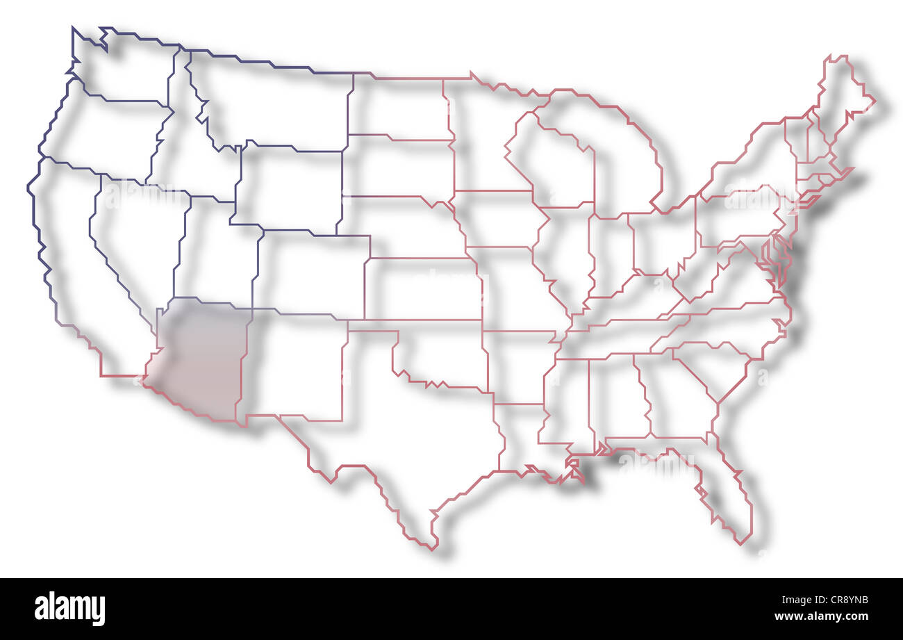Where Is Arizona On The Us Map.Political Map Of United States With The Several States Where Arizona