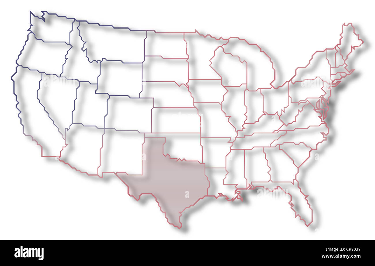 Political Map Of Texas Stock Photos & Political Map Of Texas Stock ...