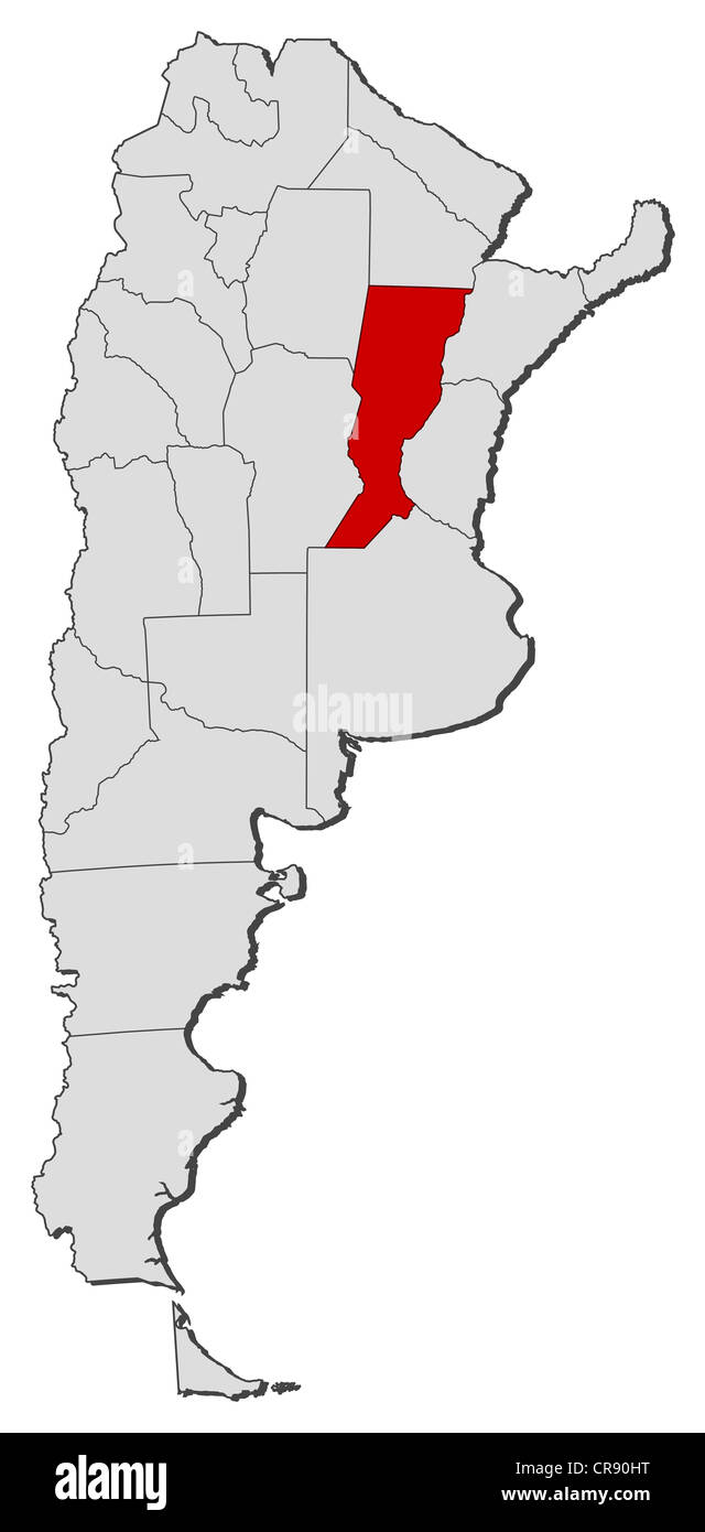 Political map of Argentina with the several provinces where Santa Fe