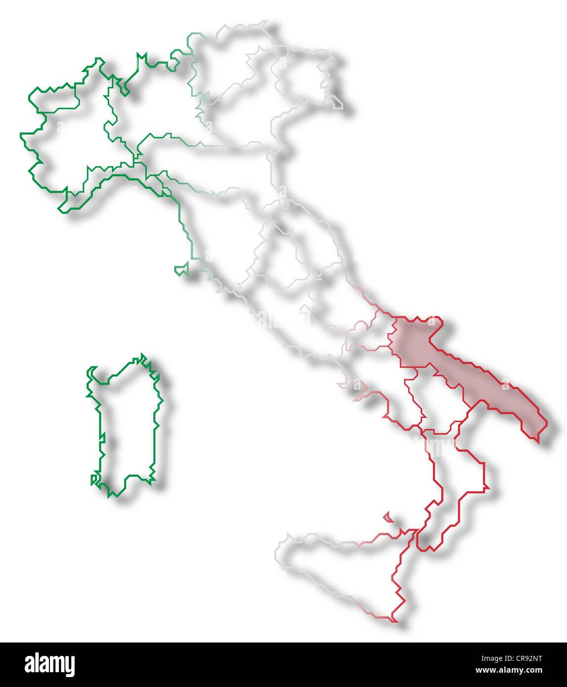 Apulia Italy Europe Map Stock Photos Apulia Italy Europe Map Stock