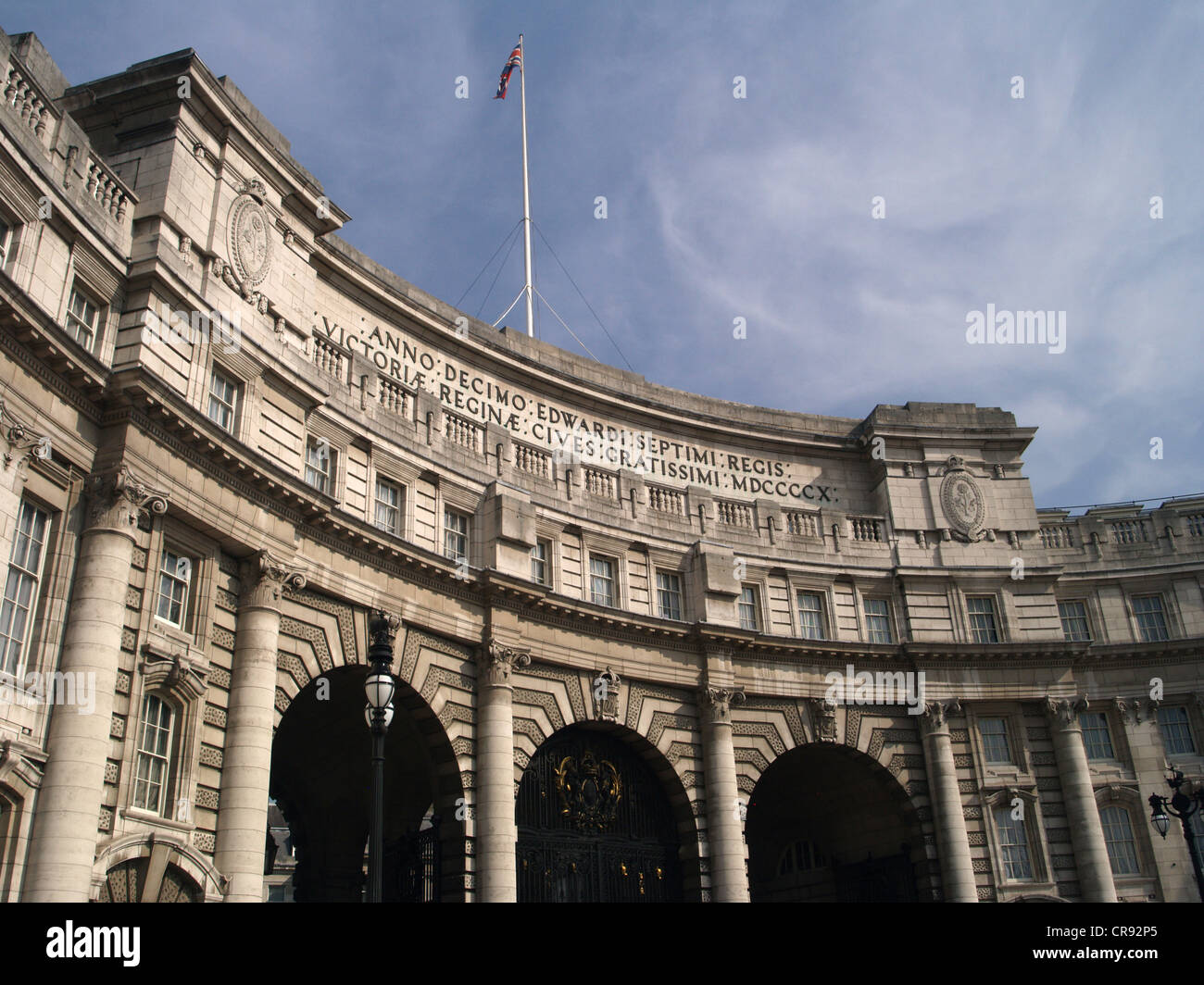 Admiralty Arch in London against a blue sky - Stock Image