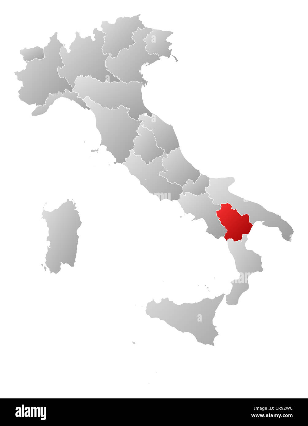 Political Map Of Italy With The Several Regions Where Basilicata Is