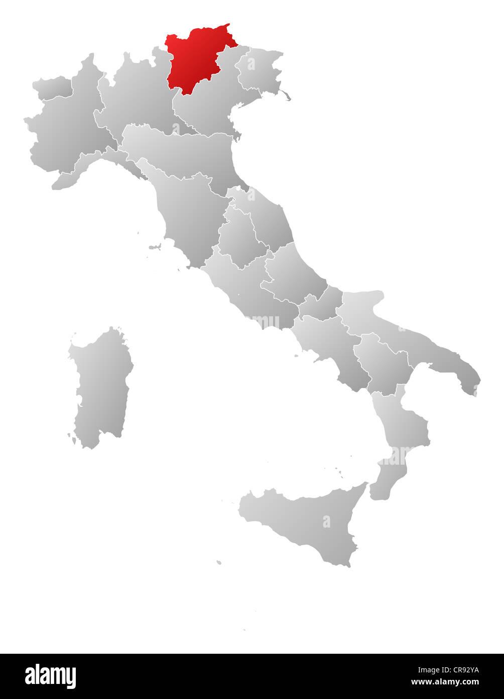 Cartina Italia Trentino Alto Adige.Political Map Of Italy With The Several Regions Where Trentino Alto Stock Photo Alamy