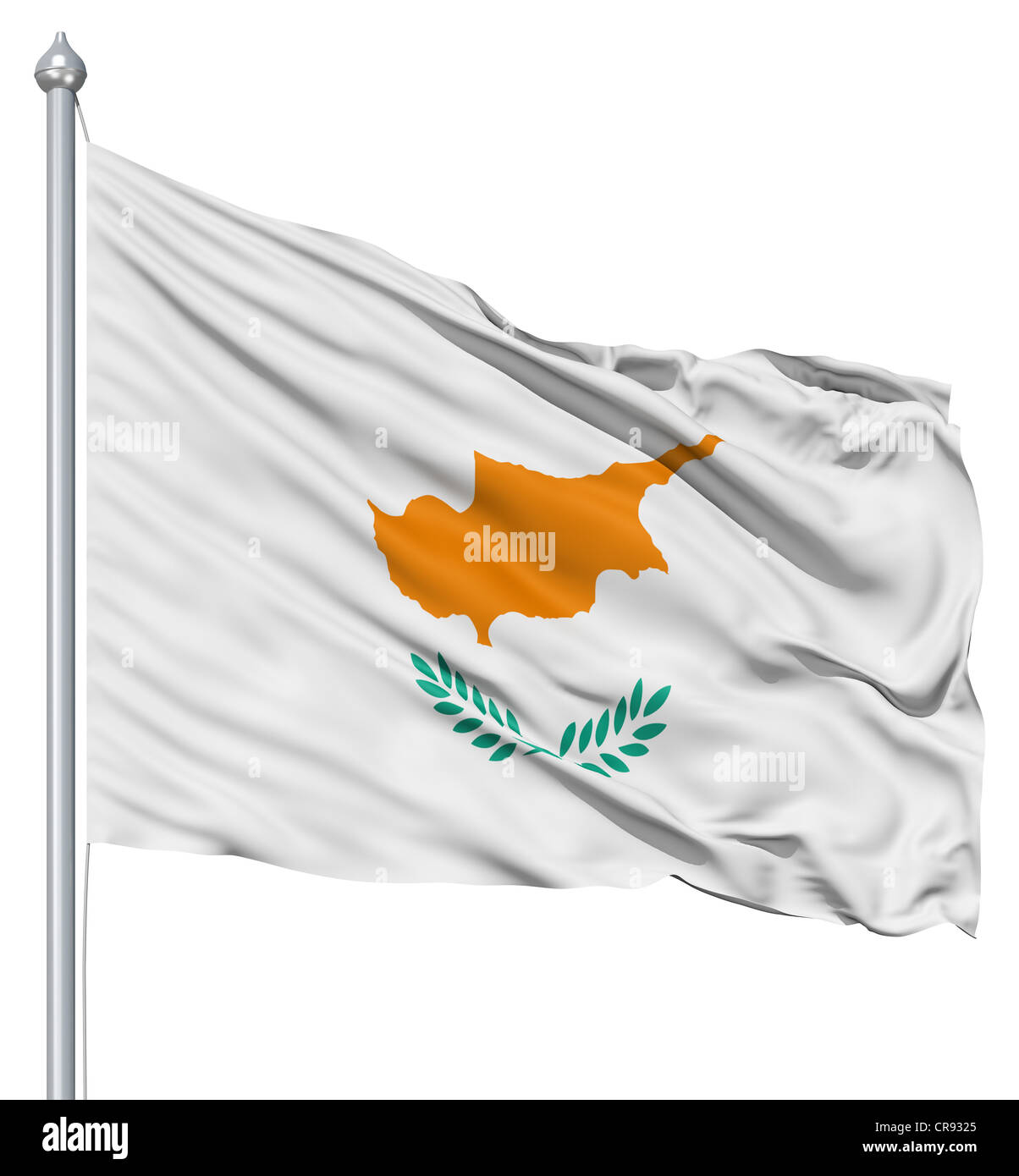 Flag of Cyprus with flagpole waving in the wind against white background - Stock Image