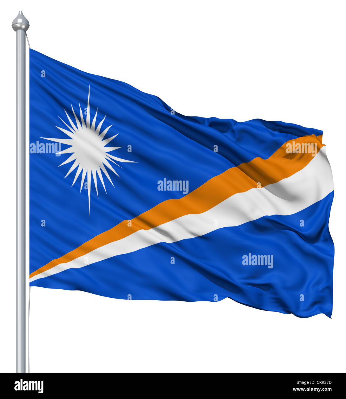 Flag of Marshall Islands with flagpole waving in the wind against white background - Stock Image