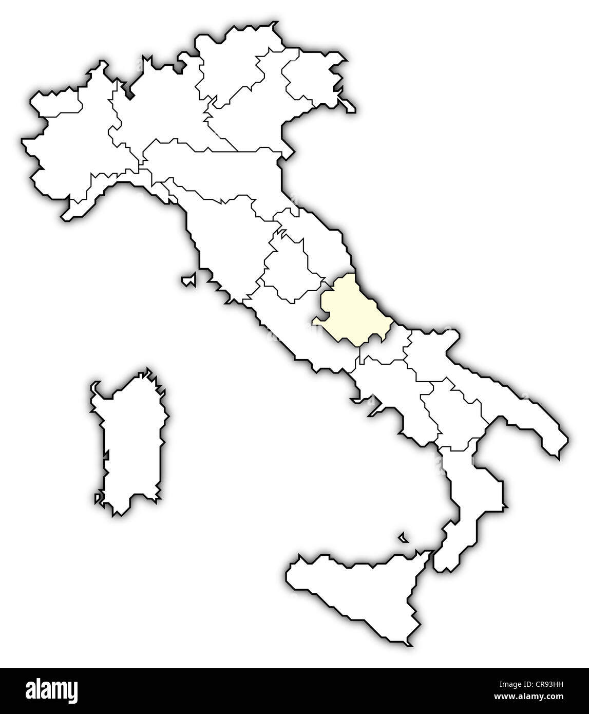 Map Of Italy Abruzzo Region.Political Map Of Italy With The Several Regions Where Abruzzo Is