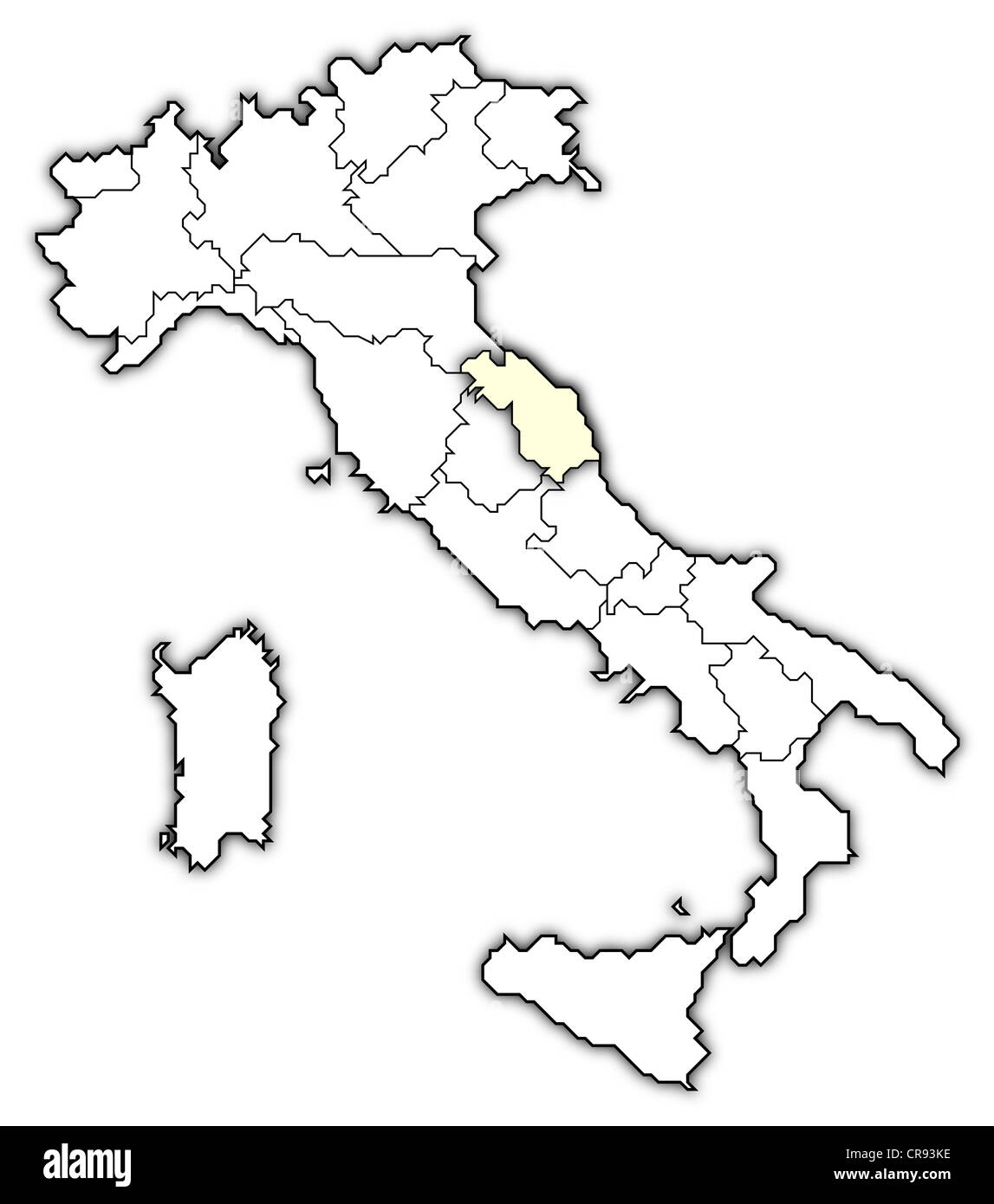 Political Map Of Italy With The Several Regions Where Marche Is