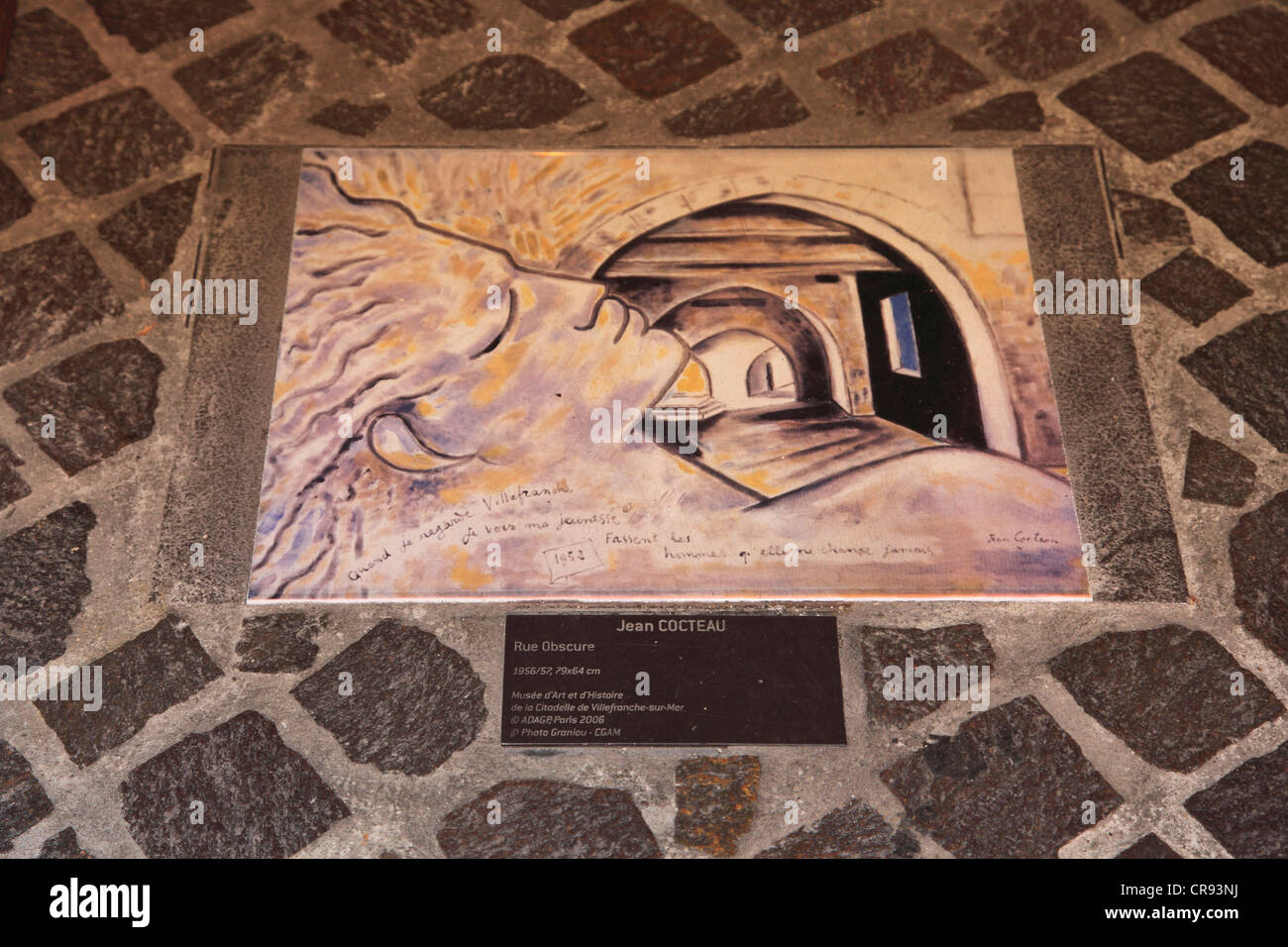 Historic sign for Rue Obscure, artist Jean Cocteau, Villefranche sur Mer, Cote d Azur, French Riviera, Provence, - Stock Image