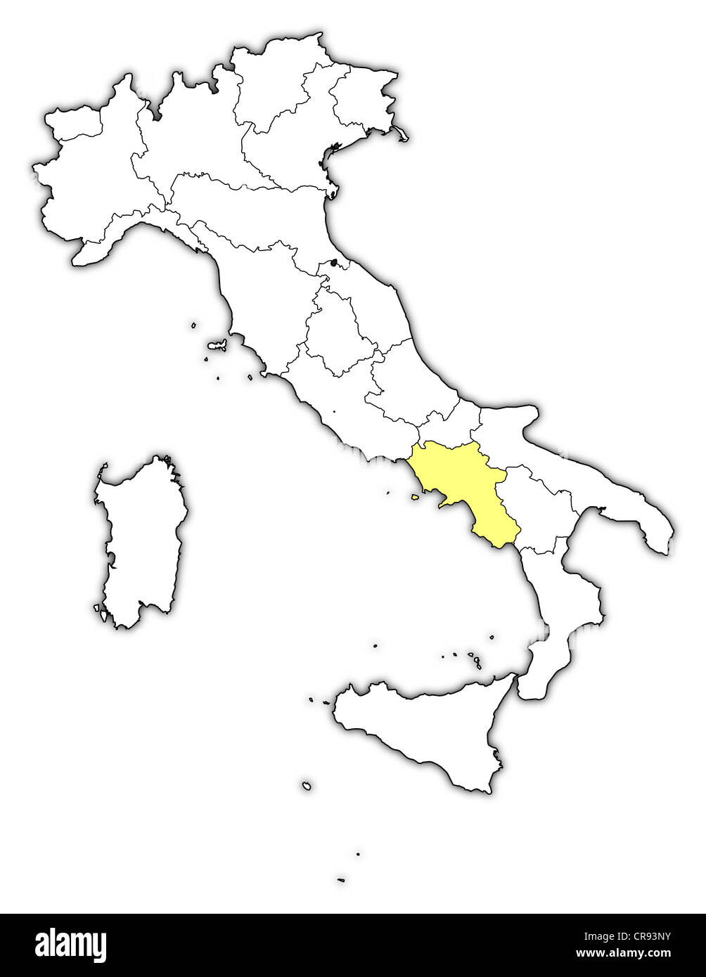 Political map of Italy with the several regions where Campania is ...