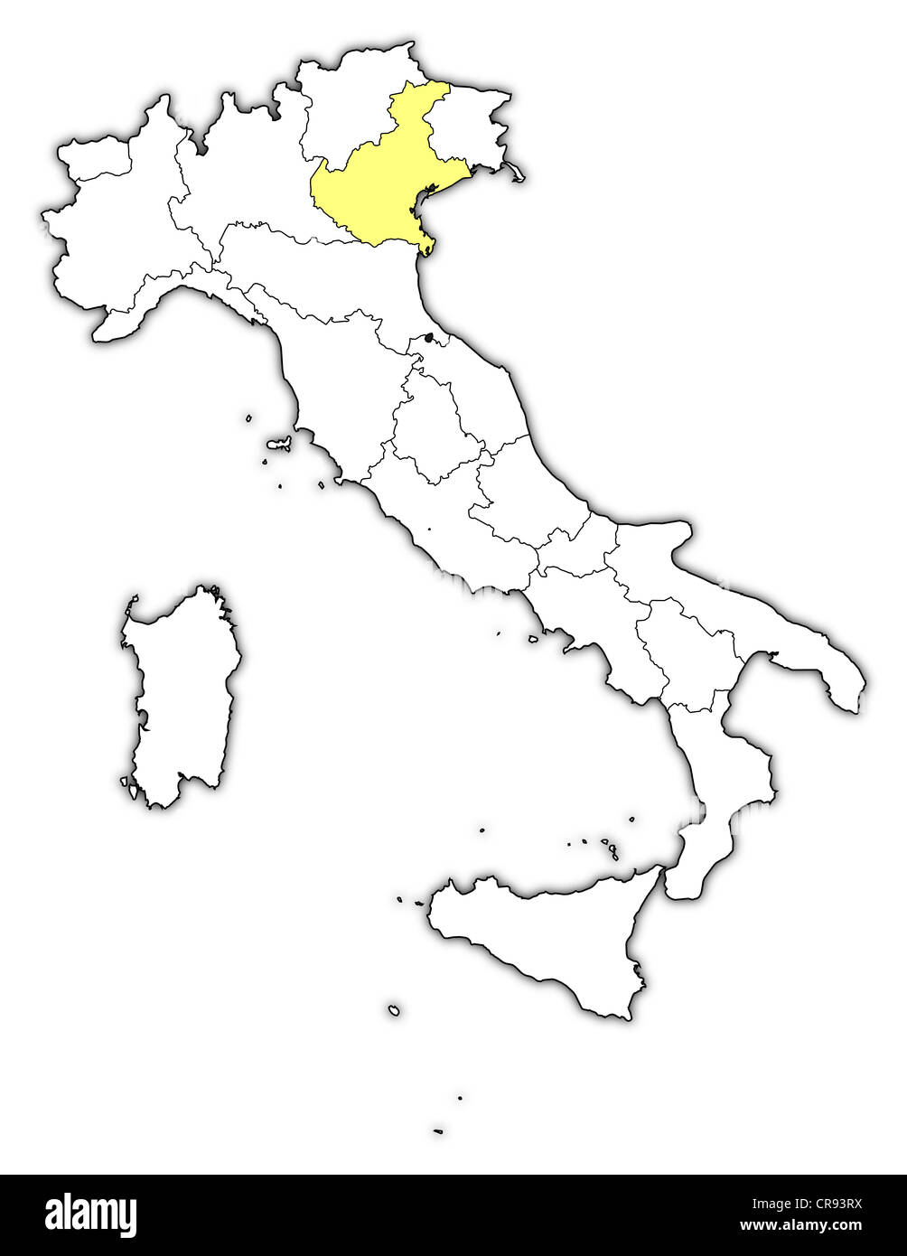 Political Map Of Italy With The Several Regions Where Veneto Is