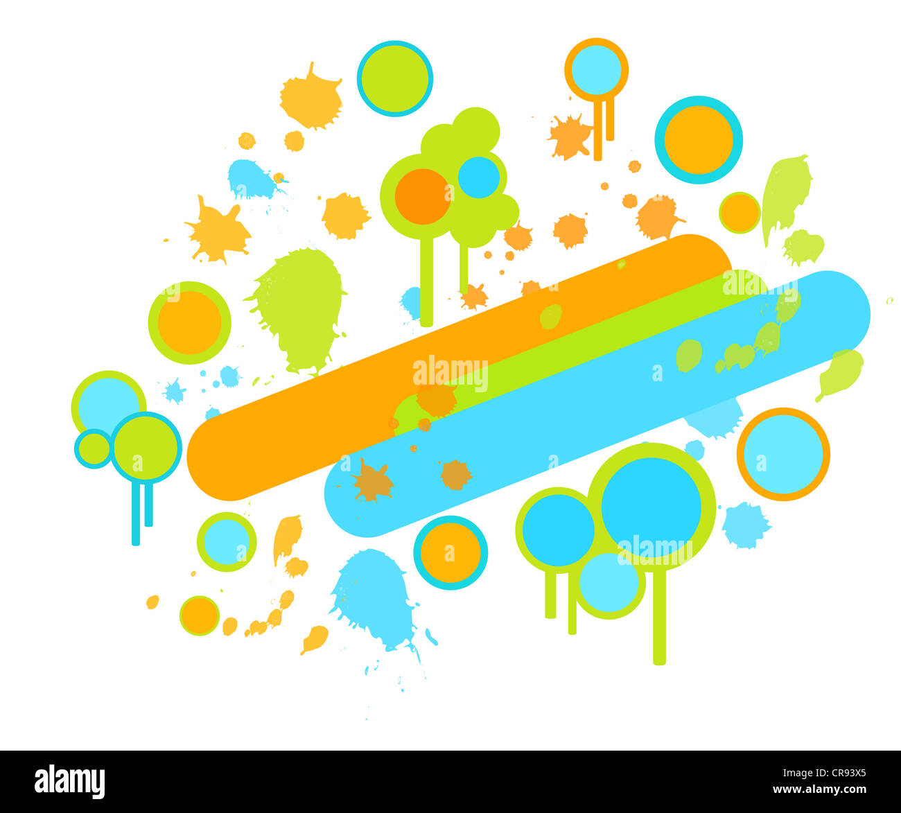 Colorful paint splashes and circles retro design Stock Photo